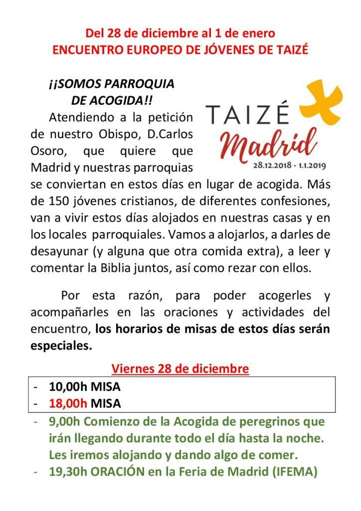 Misa (Se modifica el horario) @ Parroquia Nuestra Señora de Moratalaz